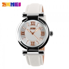 SKMEI Dress Watches Leather Strap Gold Quartz  Waterproof 9075 White