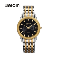 WEIQIN Watch Classic Business Quartz Watch Men Black & Gold