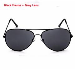 Women sun Glasses Metal Pilot Brand Sunglasses black + gray One size