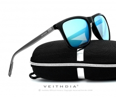 Unisex Retro Aluminum+TR90 Sunglasses Polarized Lens blue one size