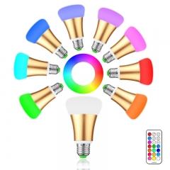 Brightness 10W RGB E27 LED Bulb Light Stage Lamp 12 Colors gold normal 10W