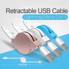 2 in 1 Retractable USB Fast Charging Cable For Micro Android And IOS Mobile Phone white