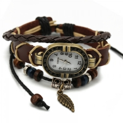 Fashion trend retro leaves leather watch leather braided bracelet fashion table brown normal
