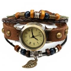 Leather watch retro small leaf bracelet watch men's fashion wild watch brown normal