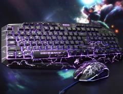 Three-Color Backlit Game Keyboard Seven-Color Backlight Game Mouse Crack Mouse and Keyboard Sets black normal