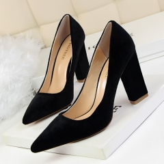 Fashion simple thick thick with shallow mouth pointed suede sexy nightclubs were thin high heels black 34