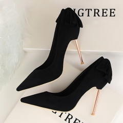 Was thin thin with high-heeled shallow mouth pointed after the bow after a single high heels black 34