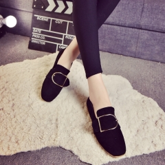 Korean version of shallow mouth leisure casual women's shoes metal sets of wild Peas shoes black 35