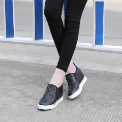 Lok Fu shoes female star shoes rivets slope with thick bottom increased shoes black 35