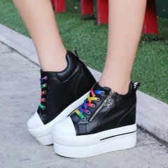 Korean version of the former zipper slope with white casual shoes autumn section Black 35