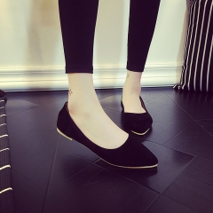 Europe and the United States pointed flat shoes simple suede frosted skin shallow mouth with black 35