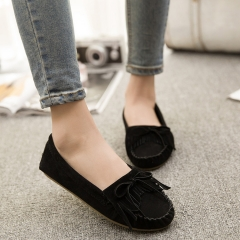 Europe and the United States trend of Su round head shallow mouth Peas shoes black 35