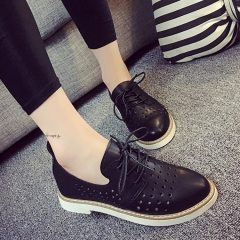 British casual women's shoes round with a small low-heeled leather shoes black 35