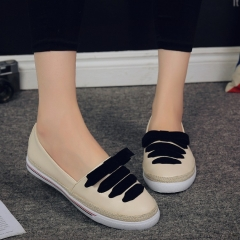 2016 spring and summer new Korean version of Peas shoes thick round head leisure black 36