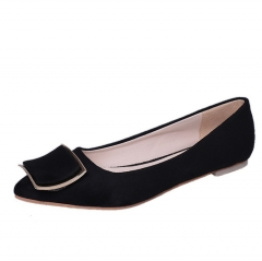 Pointed shoes single hand buckle shoes flat with flat bottom shallow mouth comfortable black 35