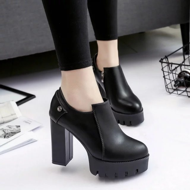 the new thick heel shoes fashion waterproof table shoes