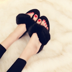 2017 Korean version of the rabbit hair cotton slippers female autumn winter plush toe home slope black 35