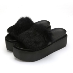 European station women 's shoes autumn and winter word exposed toe cake thick bottom slippers black 35