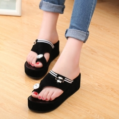 2017 Korean version of the thick bottom of the diamond slippers female muffin with shoes black 35