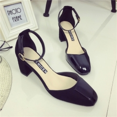 Spring new thick with shallow mouth waterproof single shoes round head buckle high heels ... black 35