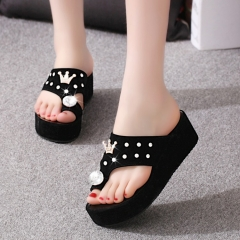 Korean version of the flat outside wear slippers female slippers students diamonds sandals black 35