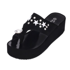 17 new slope with a diamond sleeve toe cool slippers waterproof table muffle with the word ... black 35