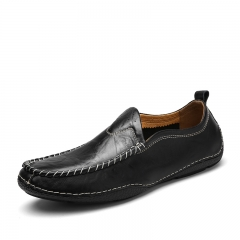 Men's Brown Loafers Slip On Shoes Genuine Leather Casual Shoes Soft Flat Driving Shoes Size 38-44 black 39