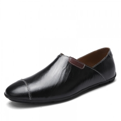 Mens Casual Genuine Leather Shoes Brown Driving Flat Shoes Slip On Loafer Shoes Plus Size 38~47 black 39