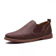 Fashion Men Chelsea Leather Casual Shoes Brown Soft Oxford Sole Slip On Flat Shoes Size 38~44 brown 38