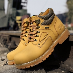 Men's Boots High Quality Work & Safety Boots Plus Size 47 Work Leather Shoes Fashion Ankle Boot yellow 47