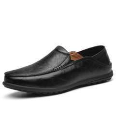 Men's Shoes Brown Leather Loafers Slip On Men Driving Casual Shoes Black  Lazy Footwear Plus Size 47 black 39