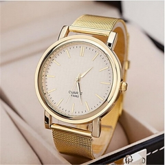 Women's Watch Fashionable Golden Case Alloy Band Golden