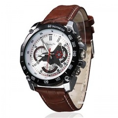 Men's Racing Design Dial PU Leather Band Brown
