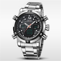Men Waterproof Display Quartz Big Dial Clock Watches black