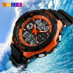 Men Military Sports Watches Digital LED Wristwatches black-orange