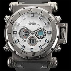 Men's Watch Military Multi-Functional Analog-Digital Big Steel Case white