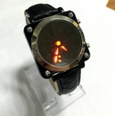 Unisex PU Digital with Pointer LED Wrist Watch (Black) black