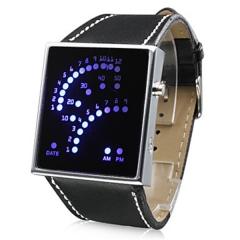 Unisex 29 LED Display Digital Wrist Watch (Black) Cool Watch Unique Watch black