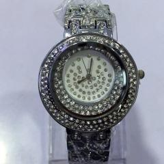 Women's Dual Diamante Ring Pattern Dial Alloy Band Quartz Analog Wrist Watch silver