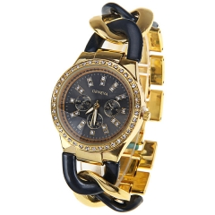 Woman watches with diamond diamond disc gold shell strip black