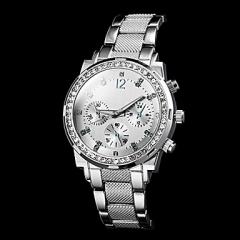 Women's Round Dial Steel Band Quartz Luxury Watch silver