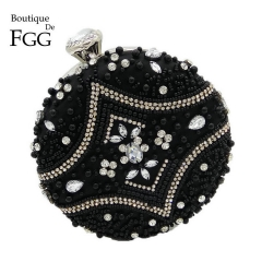 Dinner handbags ladies hand pearl beads FGGMIL0926 black free size