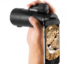 Eyeskey Portable Waterproof  Monocular Telescope Wildlife Watching Spotting Scopes Support Phone black 10cm