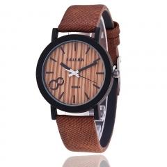 Casual Fashion Leather Strap Simulation Wooden Men/Women Quartz WatchUnisex WristWatch Gift Brown 28cm