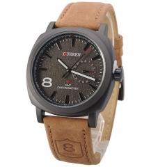 Fashion Casual Unisex Waterproof Wristwatch Curren Man Sport Quartz Watch Leather Watchband black 28cm