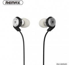 Remax Iron Metal Ring Stereo Noise Reduction In-Ear Earphone Headphone Headset  With Microphone black
