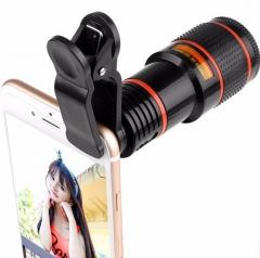 HD Mobile Phone Lens Telescope (No Dark Corner) 12 X Zoom Optical Telescope Camera Lens with Clips black 6cm