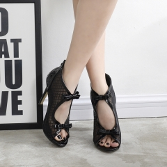 Patent leather mesh bow tie high heels FD278-9 black 35
