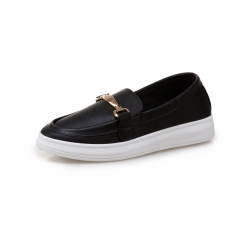 Women's trend flat and comfortable square head lazy shoes A06-1 black 35