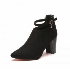 Autumn and winter women pointed suede with high-heeled Martin boots 669 black 35